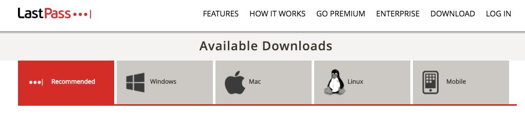 LastPass Download Page - Screen Capture